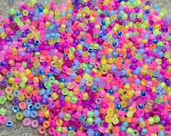 11/0 Frosted Neon Mix Glass Japanese Seed Beads 6 inch tube 28 grams