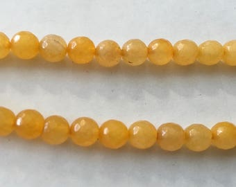 Agate Dyed Golden Round Faceted Gemstone Beads 6mm Approx 31 beads
