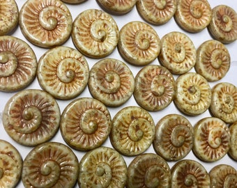 Clearance 6 Spiral Beads White with Brown Picasso Stone Look Czech Glass Round Coin Ammonite Nautilus Swirl Beads 18mm 6 pcs