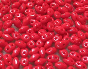 Mini Duo Red Opaque Matubo Pressed Glass Two Hole Miniduo Beads 2x4mm 9 grams
