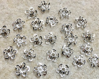 24 Silver Plated Brass Small Floral Cut Out Design Filigree Bead Caps 7mm Made in USA 24 pcs F212B