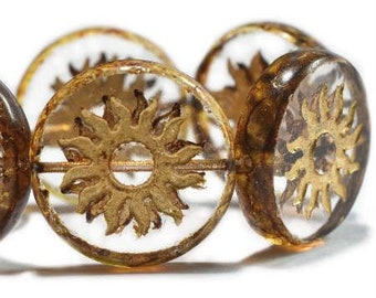 Sun Beads Crystal Transparent with Gold Chunky Coin Carved Czech Pressed Glass Table Cut Beads 1 Bead