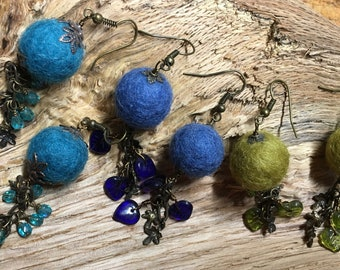 Leafy Vintage Bronze Blue Teal or Peridot Felted Earrings Czech Glass Beads Crystals