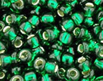 8/0 Silver Lined Green Emerald Toho Glass Seed Beads 2.5 inch tube 8 grams TR-08-36