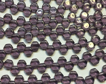 30 Tanzanite Purple Transparent Honeycomb Czech Pressed Glass Hexagon Two Hole Beads 6mm HC0620500