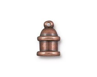 Cord End Tierra Cast Antique Copper Plated Brass Pagoda Recessed Channel for Leather Kumihimo 4mm ID 2 pcs