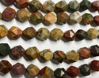 Red Creek Jasper 10mm Gemstone Beads Star Cut Rounds Approx 18 beads per 8 inch Graduated Strand