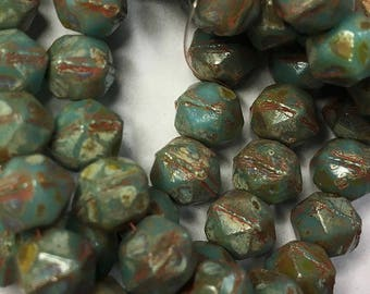 Turquoise Blue Green Picasso Czech Pressed Glass English Cut 8mm 20 beads