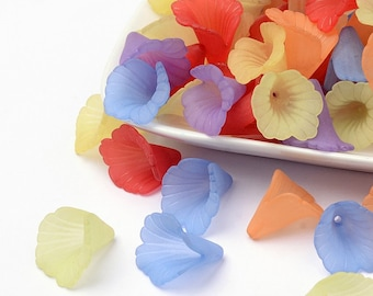 20 Frosted Mixed Color Acrylic Lucite Look Large Trumpet Lily Flower Beads 20x20mm 20 pcs