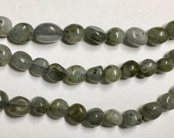 Labradorite 8x6mm Gemstone Nuggets Approx 25 beads 8 Inch strand