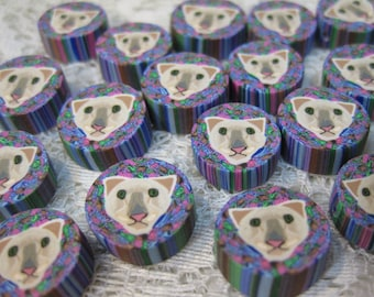 6 Ghost Cat Perfectly Adorable Siamese Cat Polymer Clay Beads 15mm