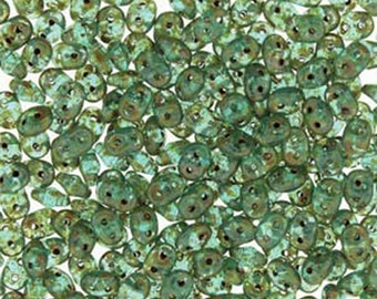 Super Duo Aqua Picasso Czech Pressed Glass Super Duo Two Hole Seed Beads 2.5mm x 5mm 12 grams