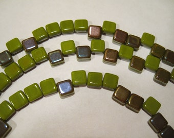 Green Opaque Celsian Czech Mates Two Hole Tile Beads Czech Pressed Glass Square Beads 6mm