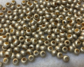 6/0 Matte Gold Plated 100% Brass Round Seed Beads Made in the USA Approx 10 grams