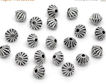 ON SALE Corrugated Antique Silver Bicone Spacer Saucer Beads 5mm x 4mm 50 pcs F319A