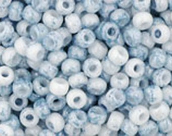 11/0 Marbled Opaque White Blue Toho Glass Seed Beads 2.5 inch tube 28 grams TR-11-1205