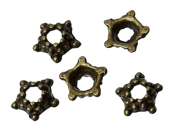 Star Bead Caps Antique Bronze Tone 5 Petal Star Flower Floral Bead Caps 5mm x 5mm 50 pcs F355