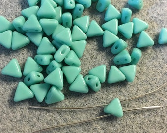 Kheops Par Puca Opaque Turquoise Green Two Hole Triangle Czech Pressed Glass 6mm x 6mm 9 grams
