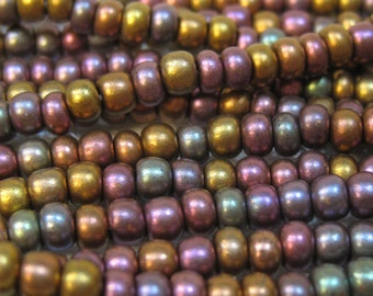 6/0 Dark Bronze Czech Glass Seed Beads 6 Strand Half Hank 70 grams