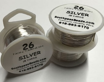 26 gauge Silver Tarnish Resistant Copper Craft Wire 15 yards Made in USA