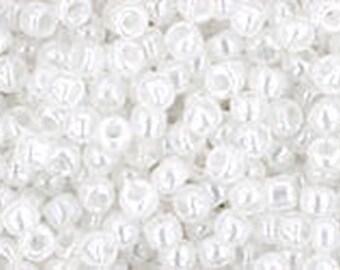 11/0 Ceylon Snowflake White Toho Glass Seed Beads 2.5 inch tube 8 grams TR-11-141