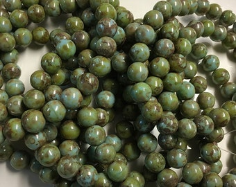 Green Turquoise Picasso Czech Pressed Glass Round Druk Beads 8mm Approx. 25 pcs