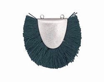 Teal Fringed Focal Pendant Link 31x25-29mm Antique Silver Finish 1 pendant F223B