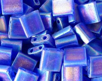 Matte Transparent Cobalt AB Miyuki 5mm Square Two Hole Tila Beads 7.2 grams