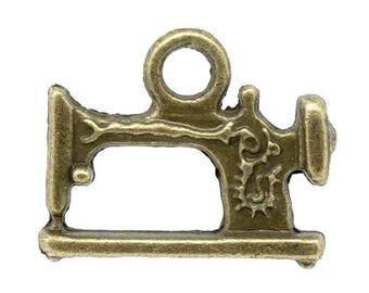 Clearance 10 Sewing Machine Charms Pendants Antique Bronze Double Sided 19mm x 15mm C174