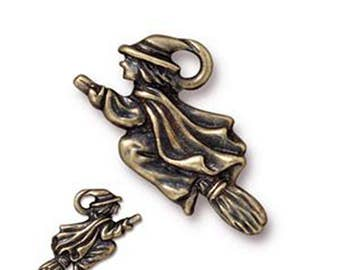 Witch in Flight Charm Antique Bronze Spooky Pendant Charm TierraCast Lead Free Pewter 19mm x 23mm F397AB