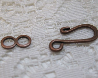 S Hook Clasps Antique Copper Plated Hook and Eye Clasps 16mm x 11mm 12 sets F304B