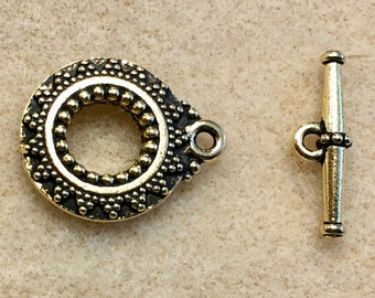 TierraCast Antique 22kt Gold Bali Toggle Clasp Vintage Style Lead Free Pewter One Clasp