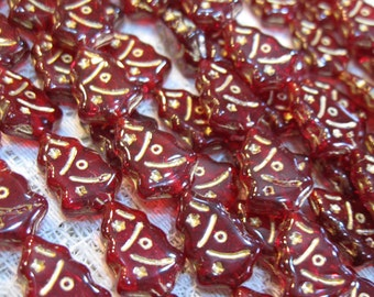 Tree Beads Ruby Red Czech Pressed Glass Christmas Holiday Tree Beads with Gold Inlay 12x17mm 25 beads
