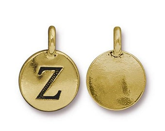 "Letter ""Z"" Initial Pendant Tiny Gold Charm TierraCast Antique Gold Alphabet Charms TierraCast Lead Free Pewter 16.5x11.5mm One Charm"