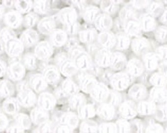 11/0 Opaque Lustered White Toho Glass Seed Beads 2.5 inch tube 8 grams TR-11-121