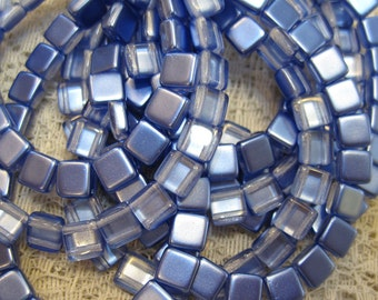 Satin Tufts Blue Czech Mates Two Hole Tile Beads Czech Pressed Glass Square Beads 6mm