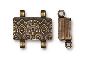 TierraCast Oxidized Brass Finish Temple Stitch-in Strong Magnetic Clasp for Seed Beads and Shaped Beadwork 16x13mm One clasp F198C