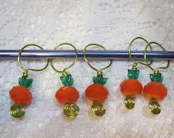 6 Harvest Pumpkin Glass Crystal and Czech Bead Cap Wire Worked Stitch Markers