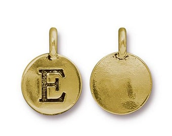 "Letter ""E"" Initial Pendant Tiny Gold Charm TierraCast Antique Gold Alphabet Charms TierraCast Lead Free Pewter 16.5x11.5mm One Charm"