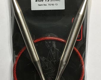 Size 13 US 16 Inch ChiaoGoo Fixed Stainless Steel Red Lace Circular Knitting Needles