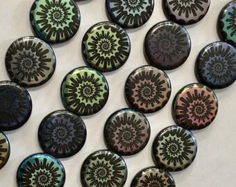 8 Blue Opaque Ammonite Nautilus Flat Round Spiral Puffed Coin Czech Glass Beads 17mm 8 pcs