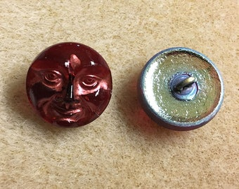 Fuchsia Copper Red Moon Face Czech Glass Button with Metal Shank 18mm