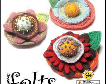 Whimsical Brooch Kit with All Materials Colorful Hand Made Felt Components