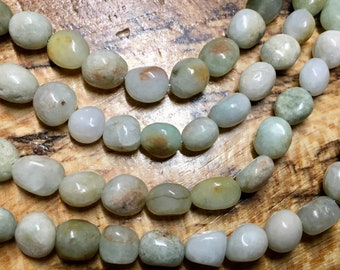 Green Jade Variable Pebble Nugget Gemstone Beads About 6 to 8mm Approx 23 beads per 8 inch strand