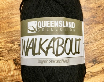 Black Walkabout Organic Shetland Wool by Queensland Collection Sport Weight Certified Organic 157 yards Color 06