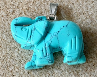 Howlite Gemstone Elephant Pendant with Bail Double Sided 39mm x 32mm 1 pendant
