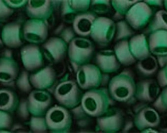 8/0 Transparent Frosted Green Emerald Toho Glass Seed Beads 2.5 inch tube 8 grams TR-08-939F