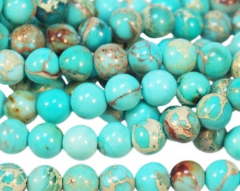 Aqua Terra Jasper Impression Jasper Aqua Turquoise Blue 6mm Gemstone rounds Approx 33 beads 8 Inch strand