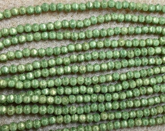 Pacifica Avocado Green 3mm English Cut Czech Pressed Glass 50 beads