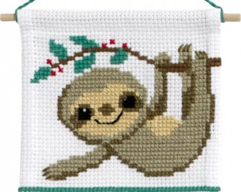 "Sloth Monkey My First Kit Beginning Cross Stitch Kit by Permin Wall Hanging All Materials and Instructions 6.4"" x 7.2"""